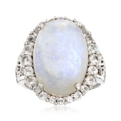 Cabochon Moonstone and 1.10 ct. t.w. White Topaz Ring in Sterling Silver , , default