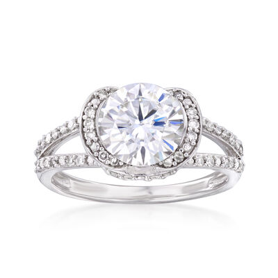 1.90 Carat Synthetic Moissanite Solitaire and .25 ct. t.w. Diamond Engagement Ring in 14kt White Gold, , default