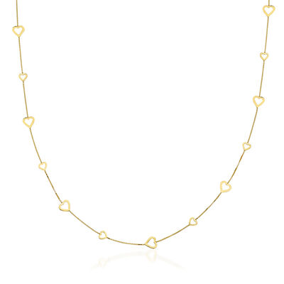 14kt Yellow Gold Heart Station Necklace