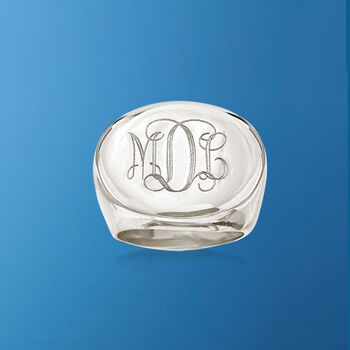Italian Sterling Silver Oval Monogram Ring, , default