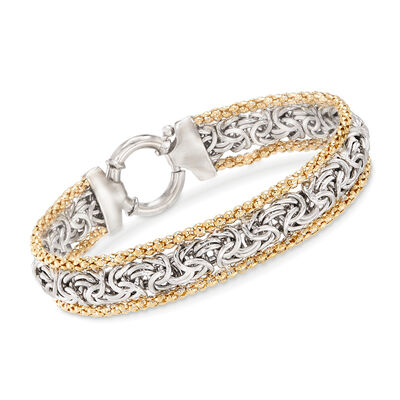 Sterling Silver and 14kt Yellow Gold Byzantine Bracelet, , default