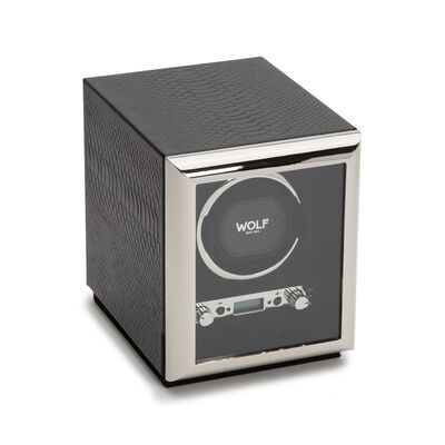 "Wolf ""Exotic"" Black Leather Single Watch Winder, , default"
