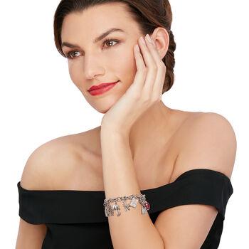 "C. 1990 Vintage .48 ct. t.w. Diamond 14kt White Gold Charm Bracelet with Ruby Accent. 7.5"", , default"