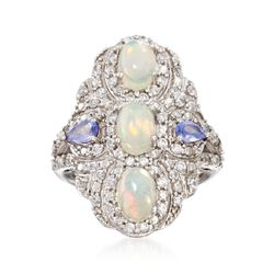 Opal and 1.10 ct. t.w. White Zircon and Tanzanite Shield Ring in Sterling Silver, , default