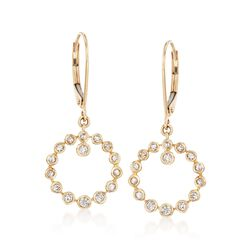 .35 ct. t.w. Bezel-Set Diamond Circle Drop Hoop Earrings in 14kt Yellow Gold , , default