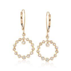 .35 ct. t.w. Bezel-Set Diamond Circle Drop Hoop Earrings in 14kt Yellow Gold , , default