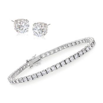 8.00 ct. t.w. CZ Tennis Bracelet With Free 1.50 ct. t.w. CZ Stud Earrings in Sterling Silver, , default