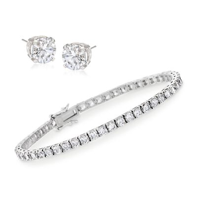 8.00 ct. t.w. CZ Tennis Bracelet With Free 1.50 ct. t.w. CZ Stud Earrings in Sterling Silver, , default