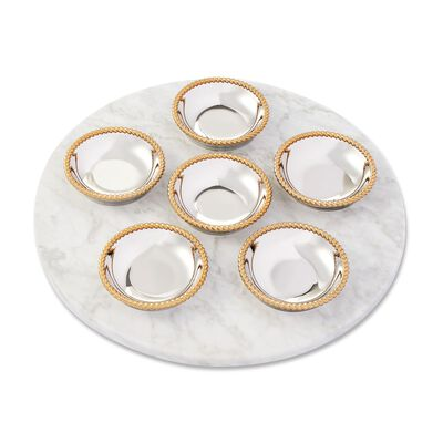 "Reed & Barton ""Roseland"" Marble and Two-Tone Seder Plate, , default"