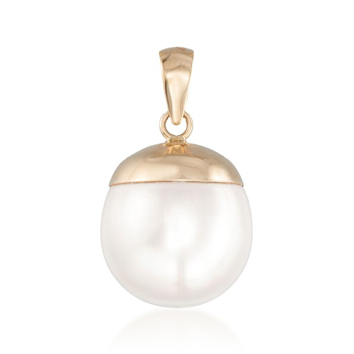 12-13mm Cultured Pearl Pendant in 14kt Yellow Gold