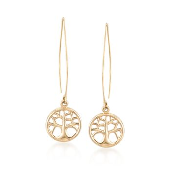 14kt Yellow Gold Tree of Life Threader Earrings, , default
