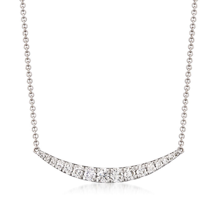 Gabriel Designs .49 ct. t.w. Diamond Curve Bar Necklace in 14kt White Gold