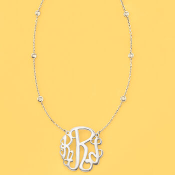 .18 ct. t.w. Diamond Station Monogram Necklace in Sterling Silver