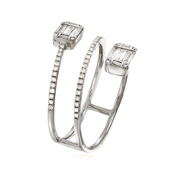 .47 ct. t.w. Baguette and Round Diamond Wrap Ring in 18kt White Gold. Size 7