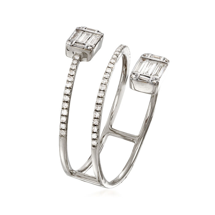 .47 ct. t.w. Baguette and Round Diamond Wrap Ring in 18kt White Gold