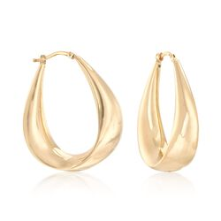 "Italian 18kt Yellow Gold Curved Hoop Earrings. 1 1/2"", , default"