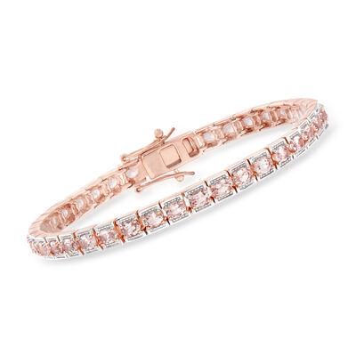 5.25 ct. t.w. Morganite Tennis Bracelet in 18kt Rose Gold Over Sterling
