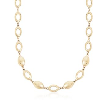 "14kt Yellow Gold Oval Disc and Link Necklace. 17"", , default"