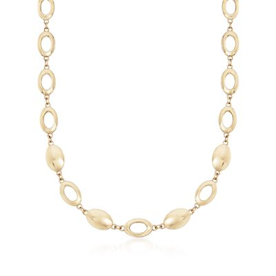 14kt Yellow Gold Oval Disc and Link Necklace, , default
