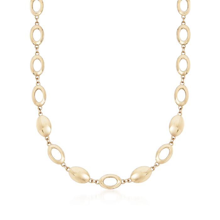 """14kt Yellow Gold Oval Disc and Link Necklace. 17"""", , default"""