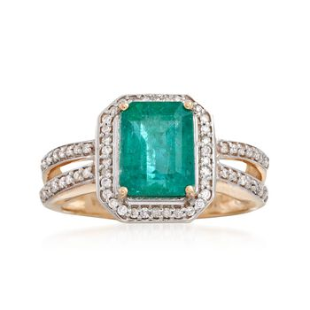 2.10 Carat Emerald and .27 ct. t.w. Diamond Ring in 14kt Yellow Gold, , default