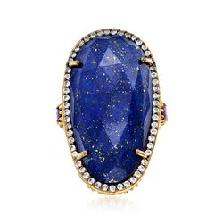 Lapis Ring With .40 ct. t.w. White Topaz and .20 ct. t.w. Amethyst in 18kt Gold Over Sterling Silver, , default