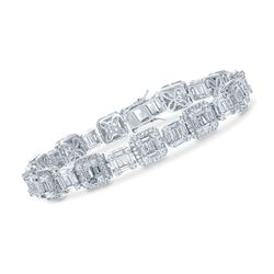 "6.80 ct. t.w. Baguette and Round CZ Bracelet in Sterling Silver. 7.5"", , default"
