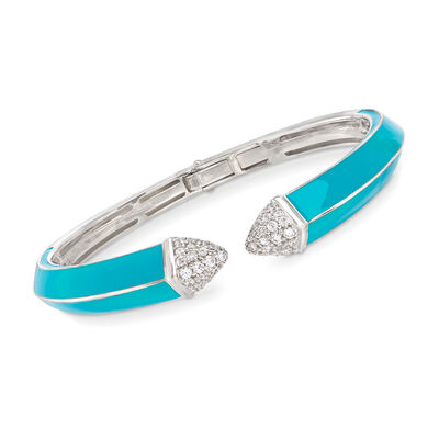 "Belle Etoile ""Pyramid"" Turquoise-Blue Enamel and .90 ct. t.w. CZ Cuff Bracelet in Sterling Silver, , default"