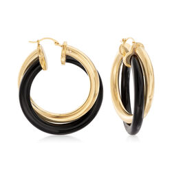 Andiamo 14kt Yellow Gold and Black Onyx Hoop Earrings, , default