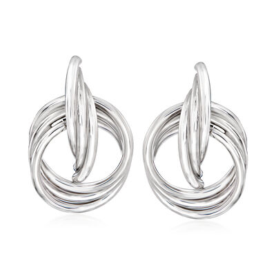 Italian Sterling Silver Doorknocker Drop Earrings