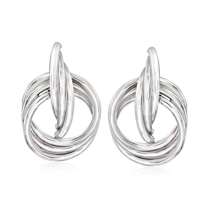 Italian Sterling Silver Doorknocker Drop Earrings