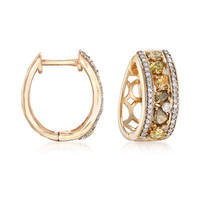 1.25 ct. t.w. Multicolored Diamond Hoop Earrings in 14kt Yellow Gold , , default