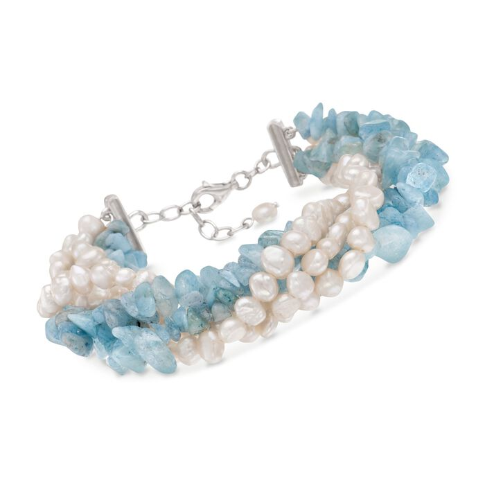 Cultured Pearl and Aquamarine Multi-Strand Bracelet with Sterling Silver Clasp. 8""