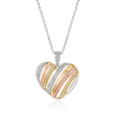 .25 ct. t.w. Diamond Heart Pendant Necklace in 14kt Tri-Colored Gold