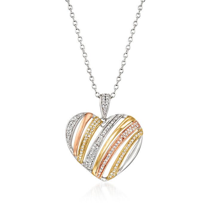 .25 ct. t.w. Diamond Heart Pendant Necklace in 14kt Tri-Colored Gold
