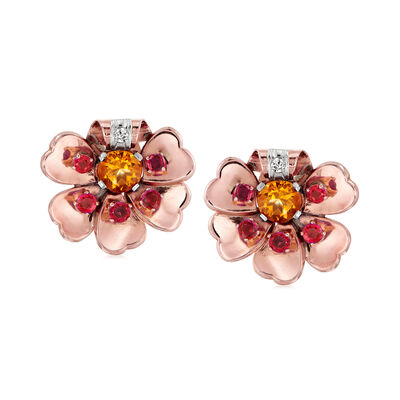 C. 1940 Vintage 2.40 ct. t.w. Citrine, 1.50 ct. t.w. Ruby and .10 ct. t.w. Diamond Flower Clip-On Earrings in 14kt Rose Gold, , default