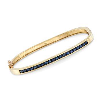 "C. 1990 Vintage 3.00 ct. t.w. Square Sapphire Bangle Bracelet in 14kt Yellow Gold. 6.5"", , default"