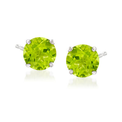 4.20 ct. t.w. Peridot Stud Earrings in 14kt White Gold, , default
