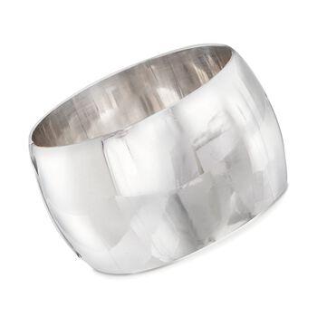 "Italian Sterling Silver Wide Bangle Bracelet. 7.5"", , default"