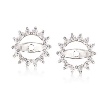 .25 ct. t.w. CZ Starburst Earring Jackets in 14kt White Gold