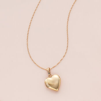 """Child's 14kt Yellow Gold Single Initial Heart Locket Necklace. 15"""""""