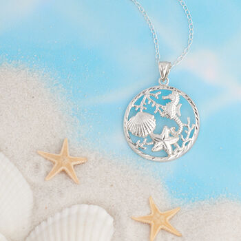 Sterling Silver Sea Life Pendant Necklace, , default