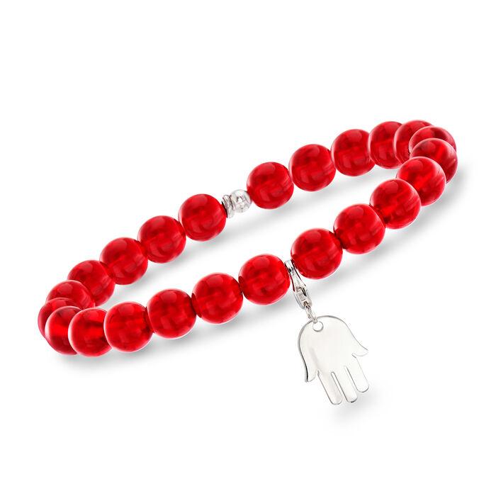 "Italian Orange Murano Glass Bead Stretch Bracelet with Sterling Silver Hamsa Charm. 7"""