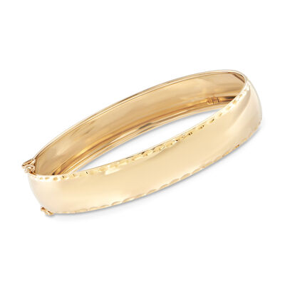 Italian 14kt Yellow Gold Diamond-Cut Bordered Bangle Bracelet, , default