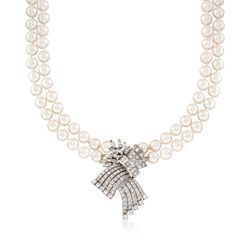 """C. 1980 Vintage 8.5-9mm Cultured Pearl and 9.20 ct. t.w. Diamond Necklace in 14kt and 18kt Gold. 19"""", , default"""