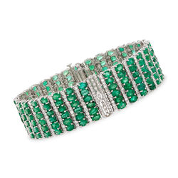 20.00 ct. t.w. Emerald and 5.75 ct. t.w. Diamond Multi-Row Bracelet in 14kt White Gold, , default