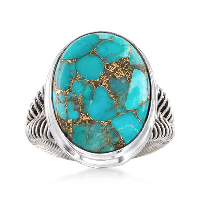 Oval Turquoise Ring in Sterling Silver Wirework