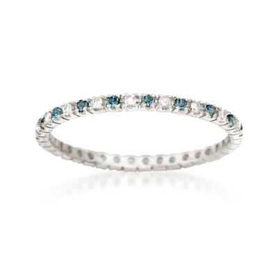 .19 ct. t.w. London Blue Topaz and .14 ct. t.w. Diamond Eternity Band in 14kt White Gold, , default