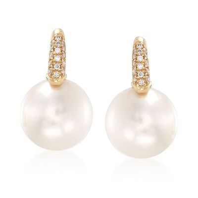 12.5-13mm Cultured South Sea Pearl and .16 ct. t.w. Diamond Earrings in 18kt Yellow Gold, , default