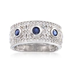 .90 ct. t.w. White Zircon and .70 ct. t.w. Sapphire Ring in Sterling Silver, , default